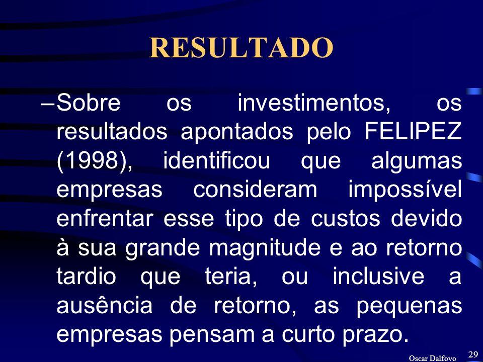Oscar Dalfovo 28 RESULTADO –Os resultados das entrevistas realizadas, demonstra que o comportamento frente ao CFQA é, em geral, de indiferença e desinteresse.