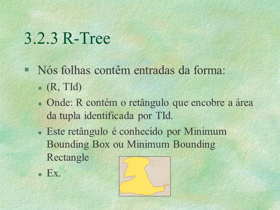 3.2.3 R-Tree § Nós folhas contêm entradas da forma: l (R, TId) l Onde: R contém o retângulo que encobre a área da tupla identificada por TId.