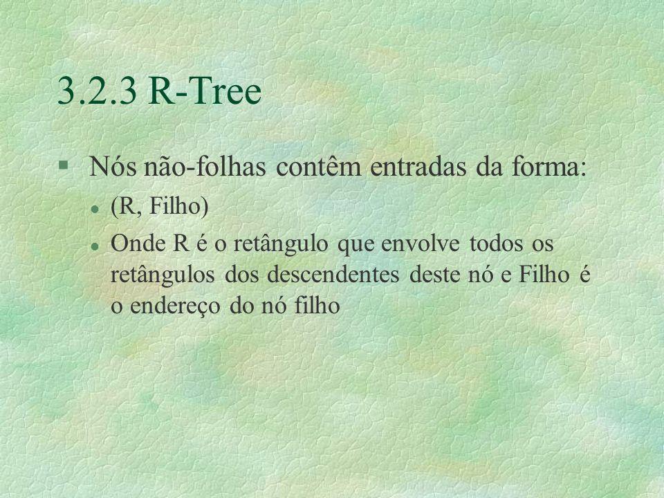 3.2.3 R-Tree § Nós não-folhas contêm entradas da forma: l (R, Filho) l Onde R é o retângulo que envolve todos os retângulos dos descendentes deste nó e Filho é o endereço do nó filho
