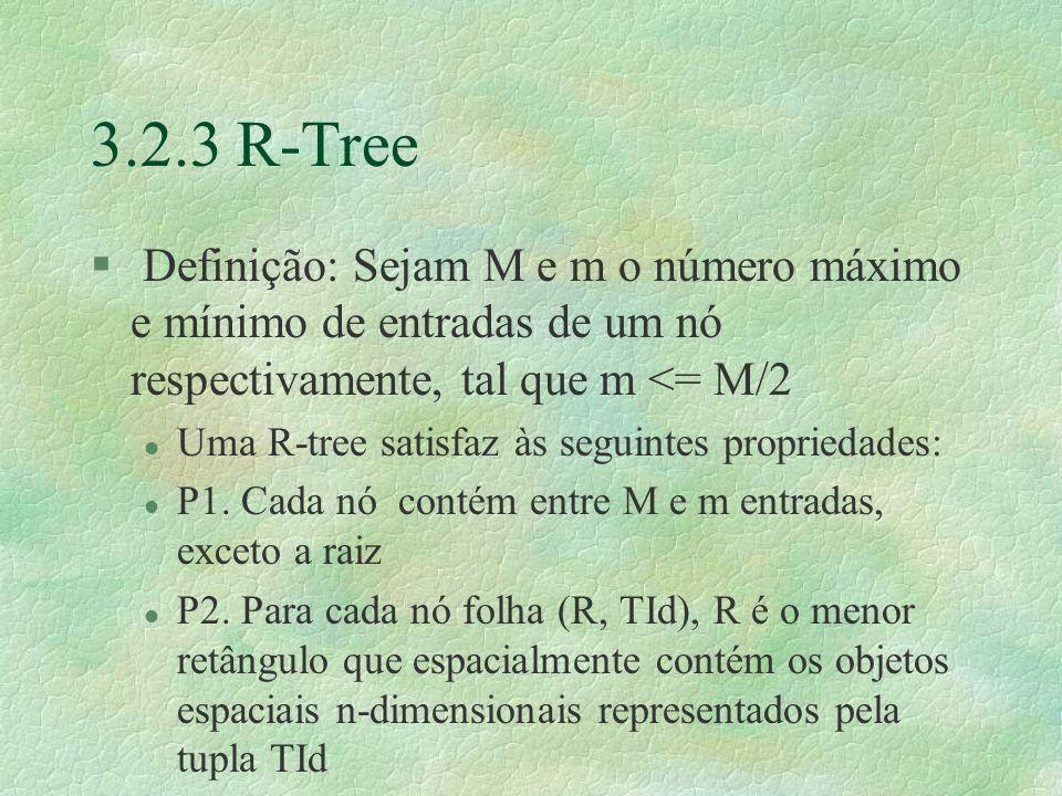 3.2.3 R-Tree § Definição: Sejam M e m o número máximo e mínimo de entradas de um nó respectivamente, tal que m <= M/2 l Uma R-tree satisfaz às seguintes propriedades: l P1.
