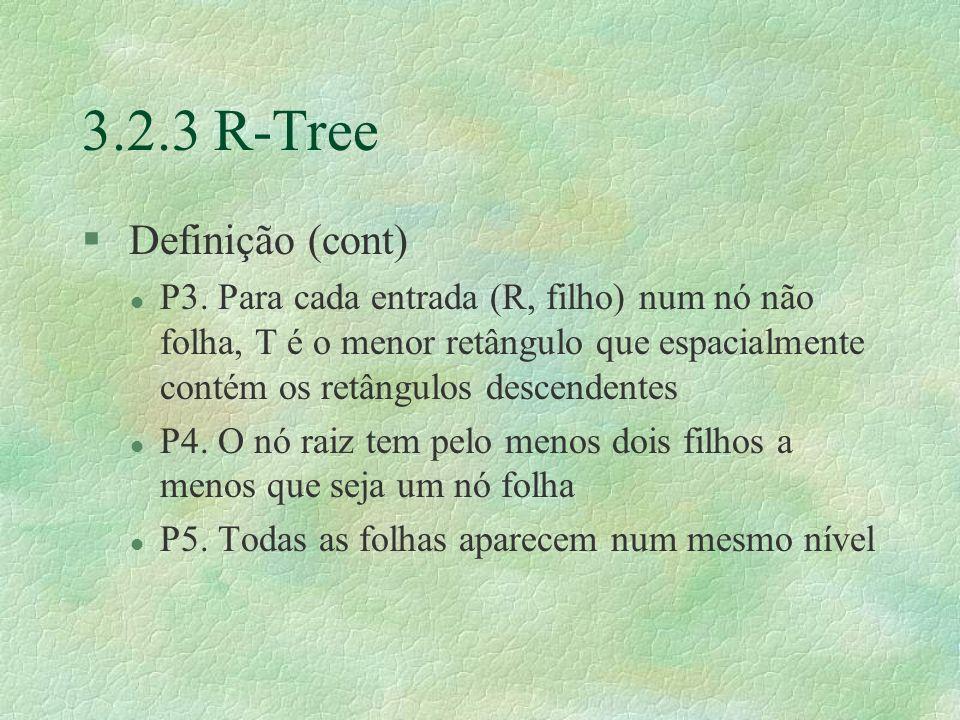 3.2.3 R-Tree § Definição (cont) l P3.