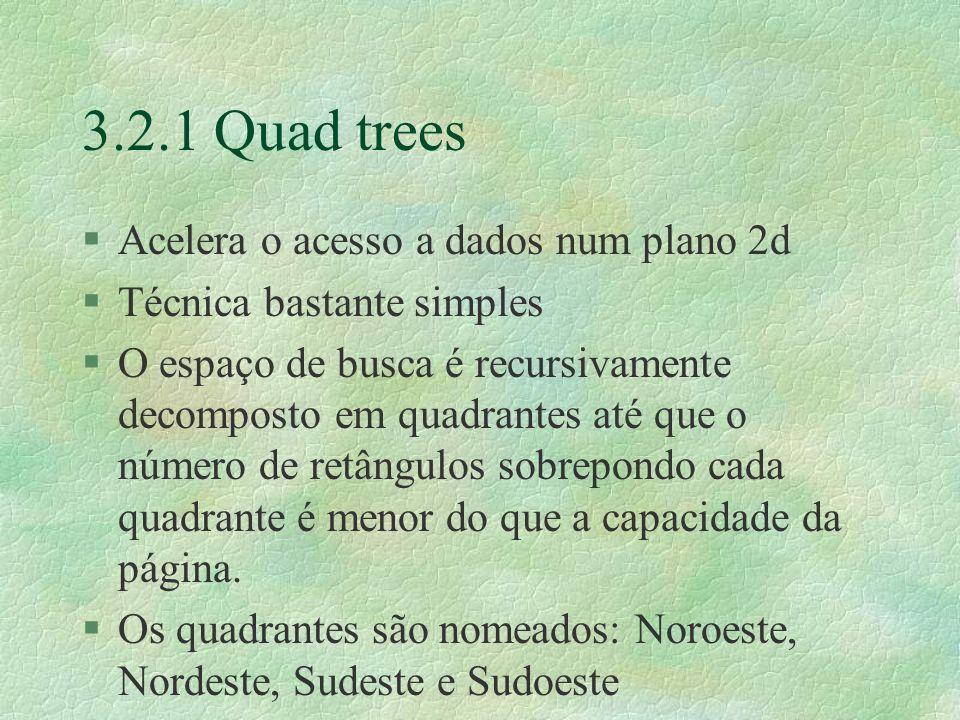 3.2.1 Quad trees §Acelera o acesso a dados num plano 2d §Técnica bastante simples §O espaço de busca é recursivamente decomposto em quadrantes até que o número de retângulos sobrepondo cada quadrante é menor do que a capacidade da página.