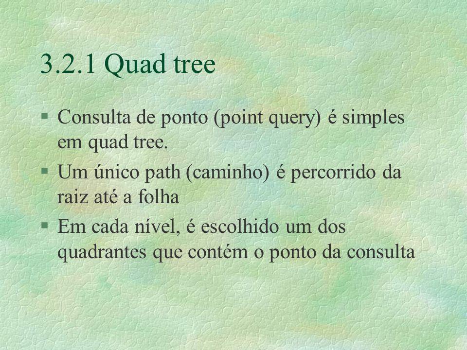 3.2.1 Quad tree §Consulta de ponto (point query) é simples em quad tree.
