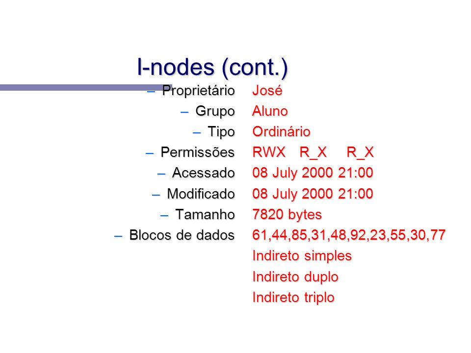 I-nodes (cont.) –Proprietário –Grupo –Tipo –Permissões –Acessado –Modificado –Tamanho –Blocos de dados José Aluno Ordinário RWXR_XR_X 08 July 2000 21: