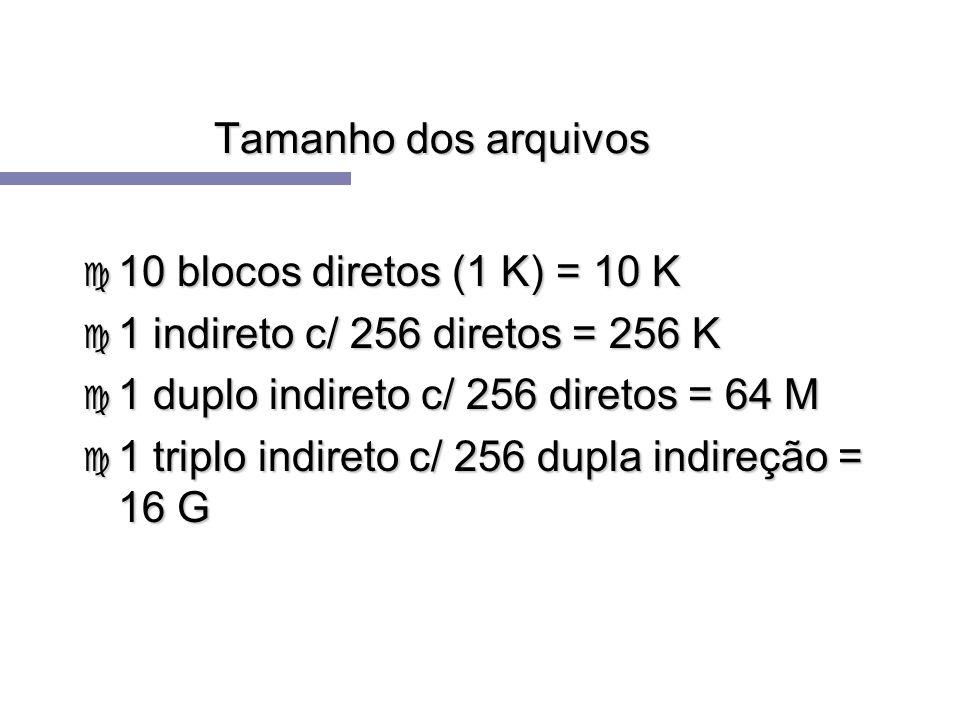 Tamanho dos arquivos c 10 blocos diretos (1 K) = 10 K c 1 indireto c/ 256 diretos = 256 K c 1 duplo indireto c/ 256 diretos = 64 M c 1 triplo indireto