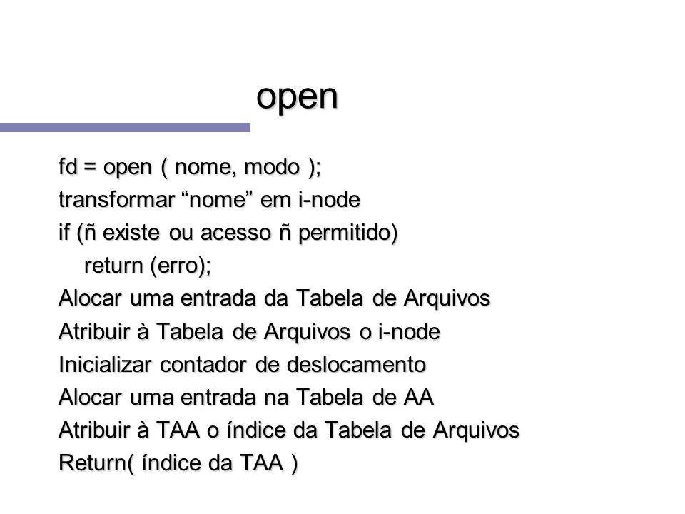 open fd = open ( nome, modo ); transformar nome em i-node if (ñ existe ou acesso ñ permitido) return (erro); Alocar uma entrada da Tabela de Arquivos