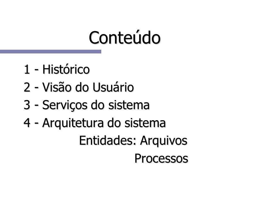 Conteúdo 1 - Histórico 2 - Visão do Usuário 3 - Serviços do sistema 4 - Arquitetura do sistema Entidades: Arquivos Processos
