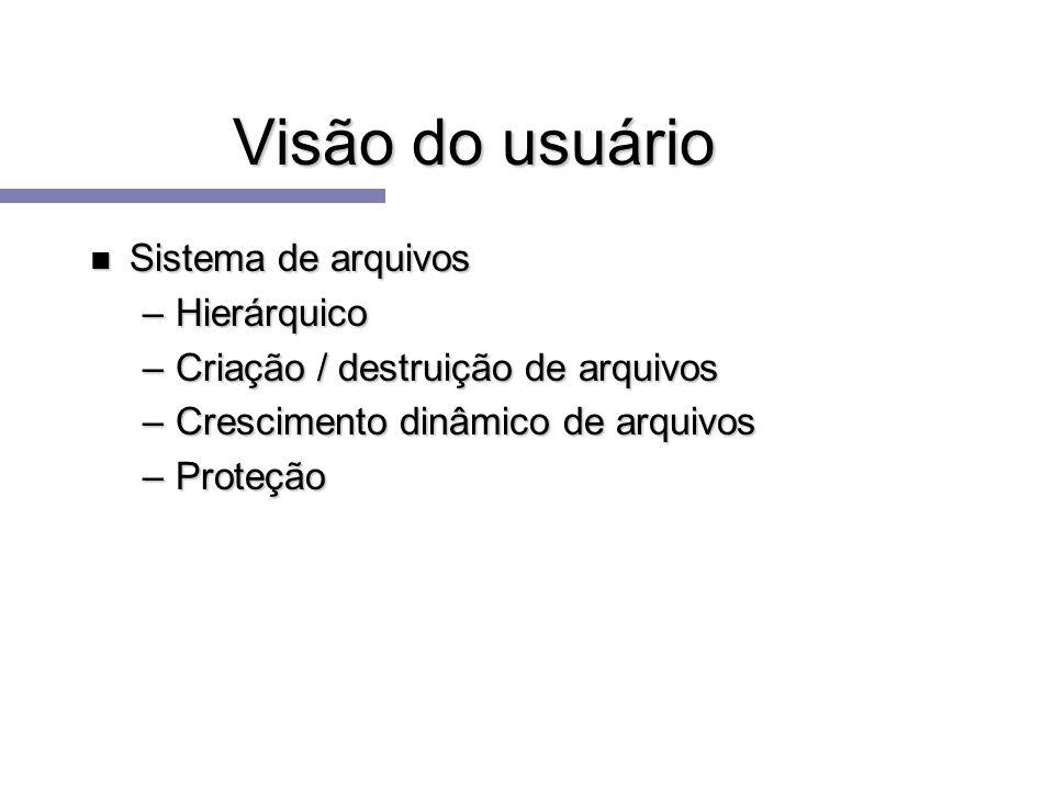 Visão do usuário n Sistema de arquivos –Hierárquico –Criação / destruição de arquivos –Crescimento dinâmico de arquivos –Proteção