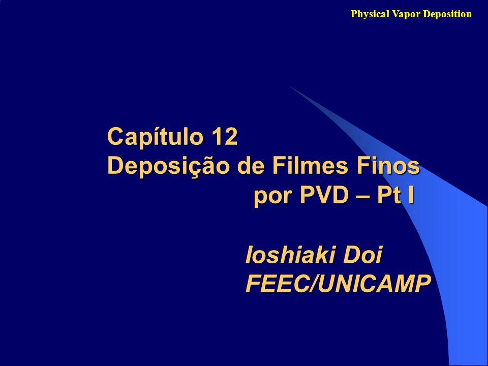 Comparação entre os Processos CVD e PVD Capítulo 12 - Deposição de Filmes Finos por PVD – Pt I Physical Vapor Deposition CVD: usa gases or precursores em estado vapor e o filme depositado a partir de reações químicas sobre superfície do substrato.