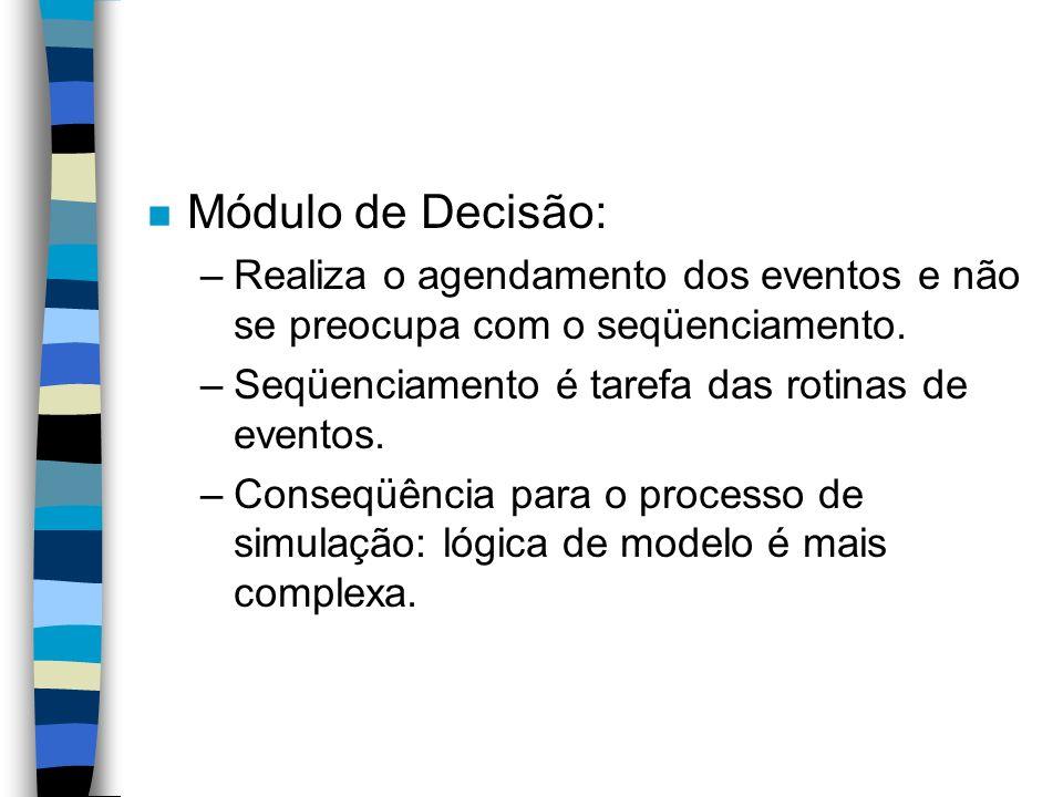 n Módulo de Decisão: –Realiza o agendamento dos eventos e não se preocupa com o seqüenciamento.