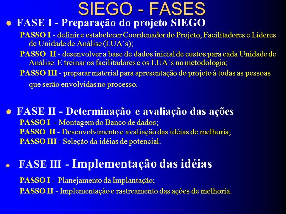 SIEGO - FASES FASE I - Preparação do projeto SIEGO PASSO I - definir e estabelecer Coordenador do Projeto, Facilitadores e Lideres de Unidade de Análise (LUA´s); PASSO II - desenvolver a base de dados inicial de custos para cada Unidade de Análise.