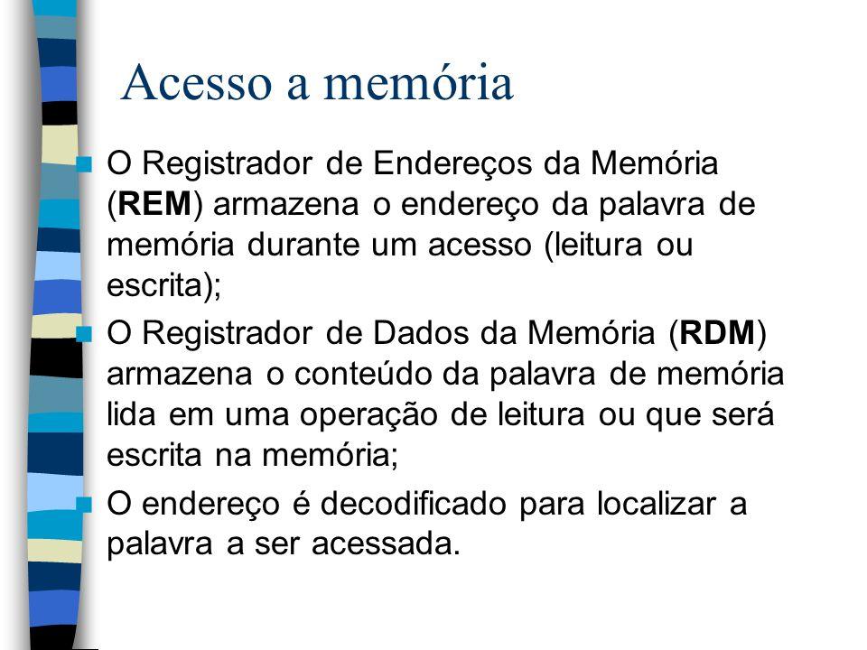 Acesso a memória O Registrador de Endereços da Memória (REM) armazena o endereço da palavra de memória durante um acesso (leitura ou escrita); O Regis