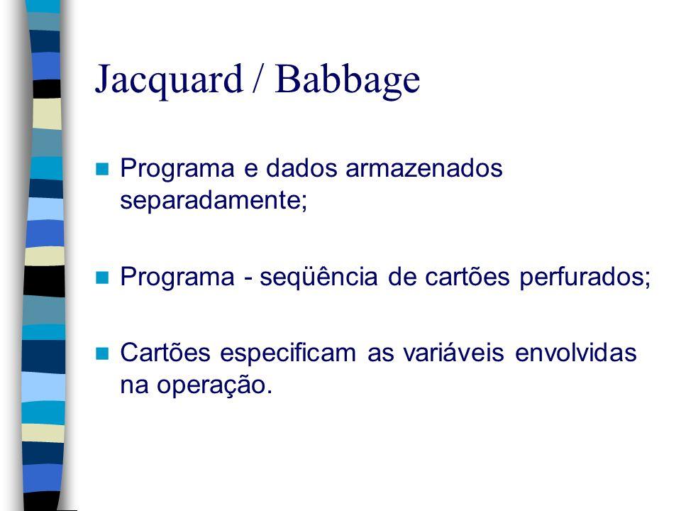 Jacquard / Babbage Programa e dados armazenados separadamente; Programa - seqüência de cartões perfurados; Cartões especificam as variáveis envolvidas