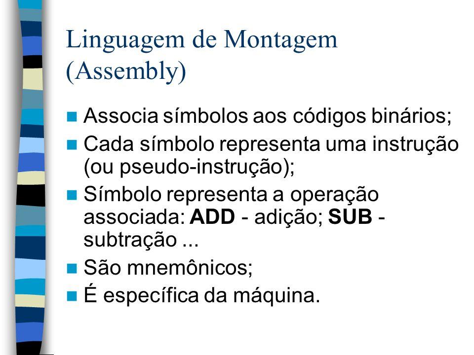 Linguagem de Montagem (Assembly) Associa símbolos aos códigos binários; Cada símbolo representa uma instrução (ou pseudo-instrução); Símbolo represent