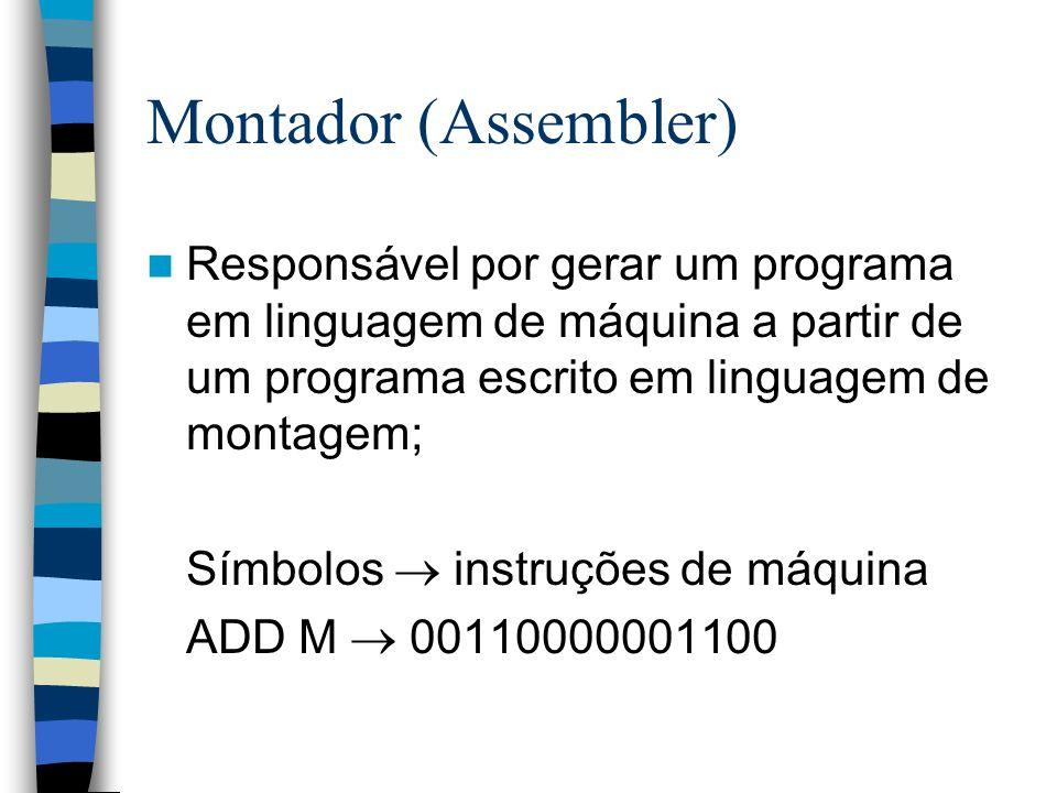 Montador (Assembler) Responsável por gerar um programa em linguagem de máquina a partir de um programa escrito em linguagem de montagem; Símbolos inst