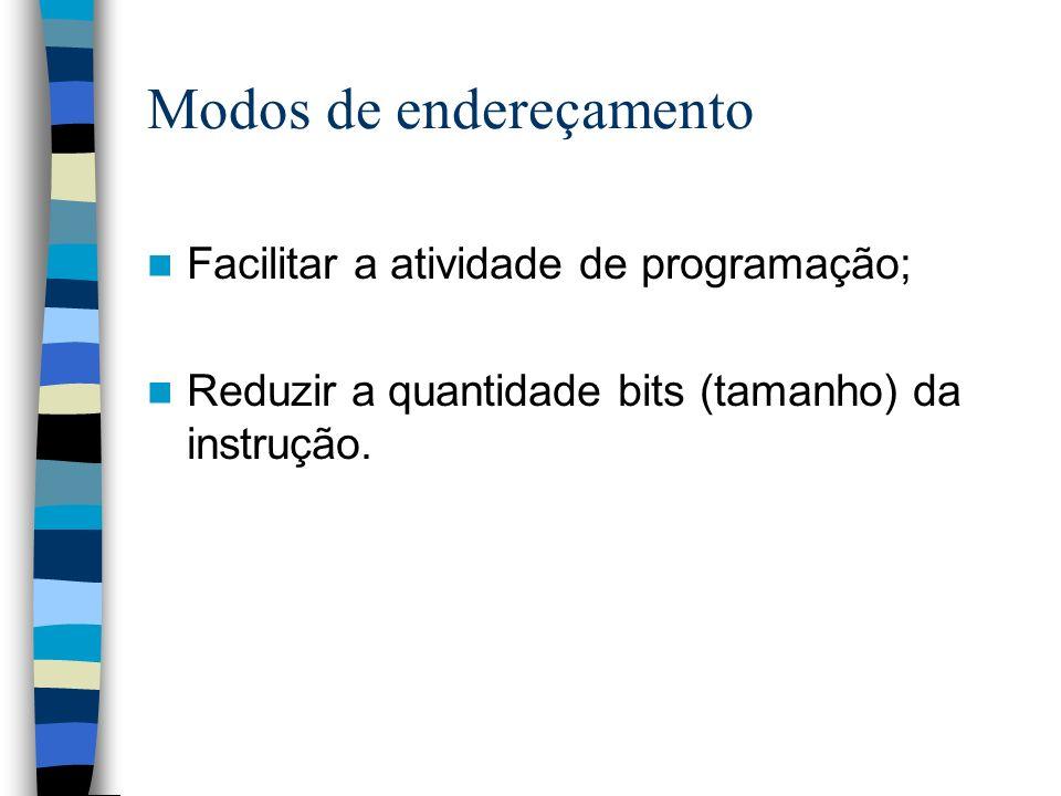 Modos de endereçamento Facilitar a atividade de programação; Reduzir a quantidade bits (tamanho) da instrução.
