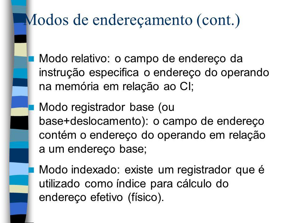 Modos de endereçamento (cont.) Modo relativo: o campo de endereço da instrução especifica o endereço do operando na memória em relação ao CI; Modo reg