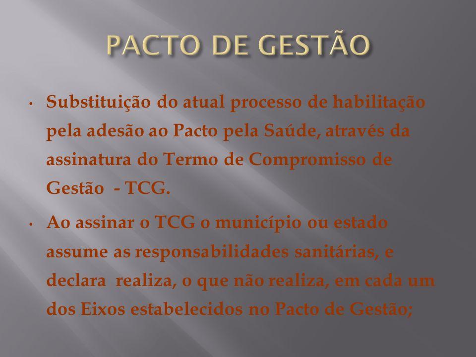 Substituição do atual processo de habilitação pela adesão ao Pacto pela Saúde, através da assinatura do Termo de Compromisso de Gestão - TCG. Ao assin