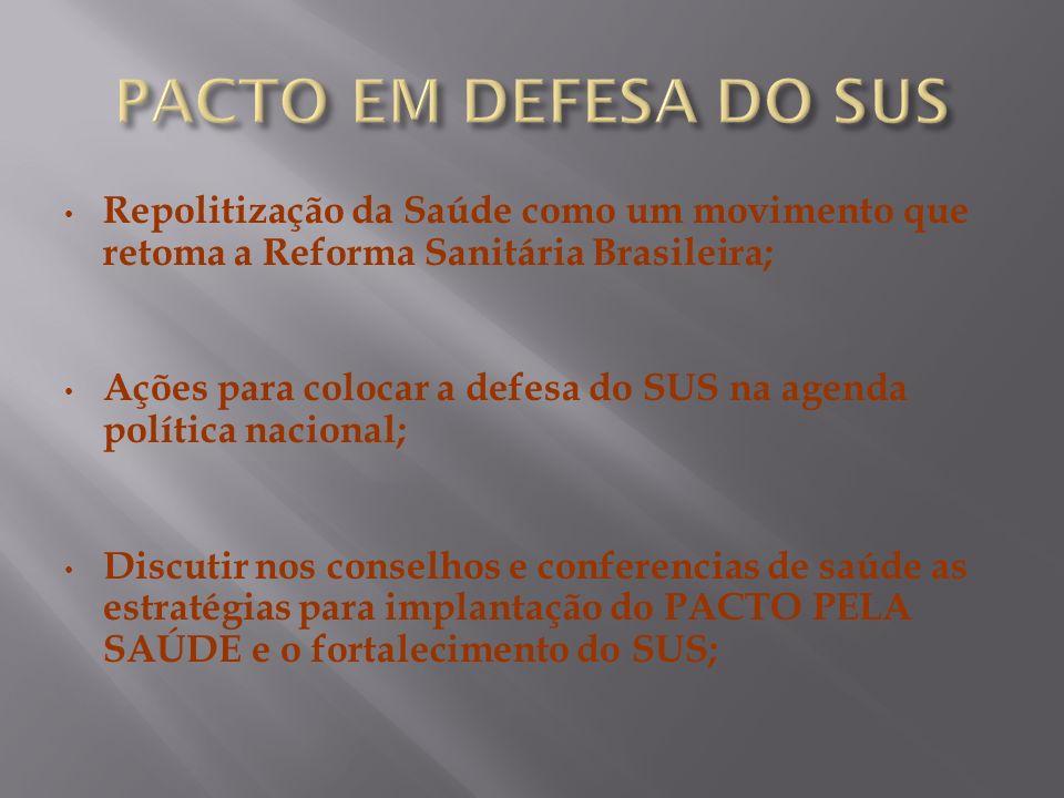 Repolitização da Saúde como um movimento que retoma a Reforma Sanitária Brasileira; Ações para colocar a defesa do SUS na agenda política nacional; Di