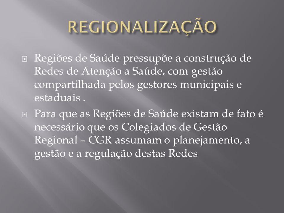 Regiões de Saúde pressupõe a construção de Redes de Atenção a Saúde, com gestão compartilhada pelos gestores municipais e estaduais. Para que as Regiõ