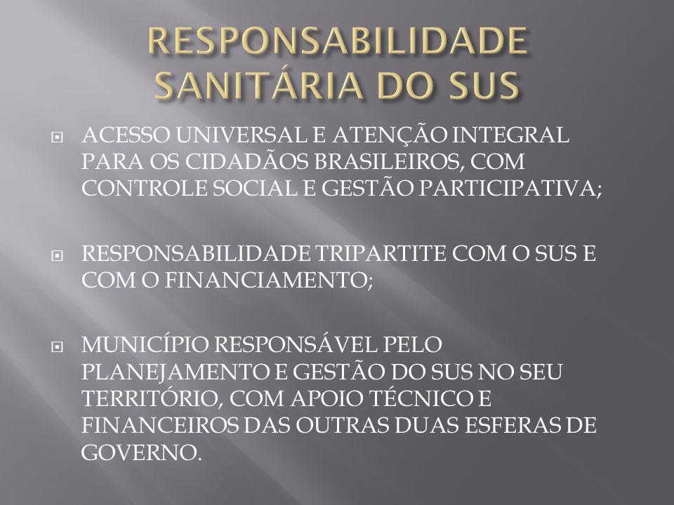 ACESSO UNIVERSAL E ATENÇÃO INTEGRAL PARA OS CIDADÃOS BRASILEIROS, COM CONTROLE SOCIAL E GESTÃO PARTICIPATIVA; RESPONSABILIDADE TRIPARTITE COM O SUS E