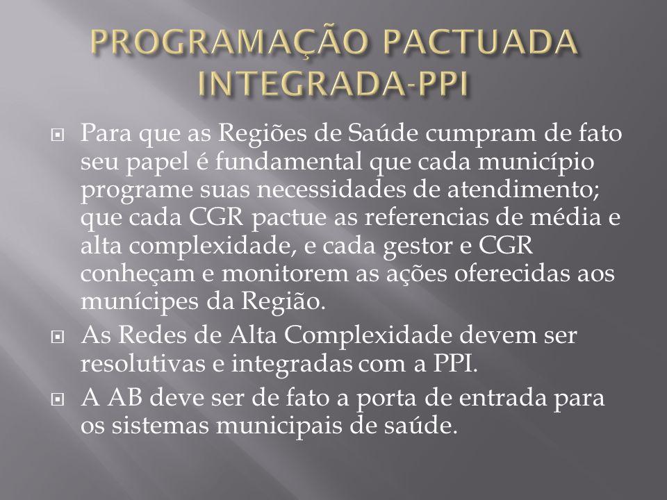 Para que as Regiões de Saúde cumpram de fato seu papel é fundamental que cada município programe suas necessidades de atendimento; que cada CGR pactue