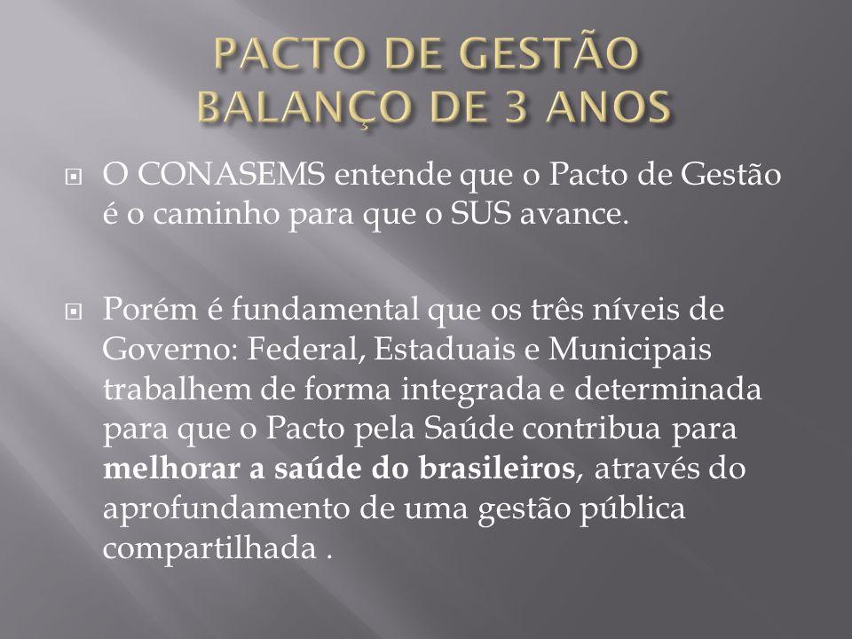 O CONASEMS entende que o Pacto de Gestão é o caminho para que o SUS avance. Porém é fundamental que os três níveis de Governo: Federal, Estaduais e Mu