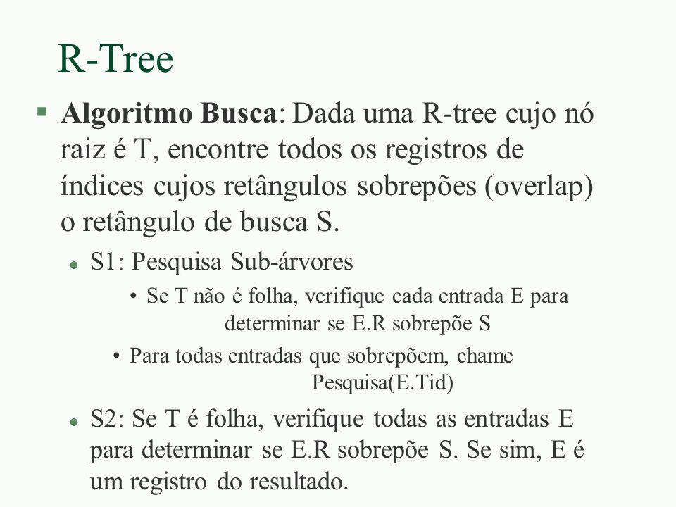 R-Tree §Algoritmo Busca: Dada uma R-tree cujo nó raiz é T, encontre todos os registros de índices cujos retângulos sobrepões (overlap) o retângulo de