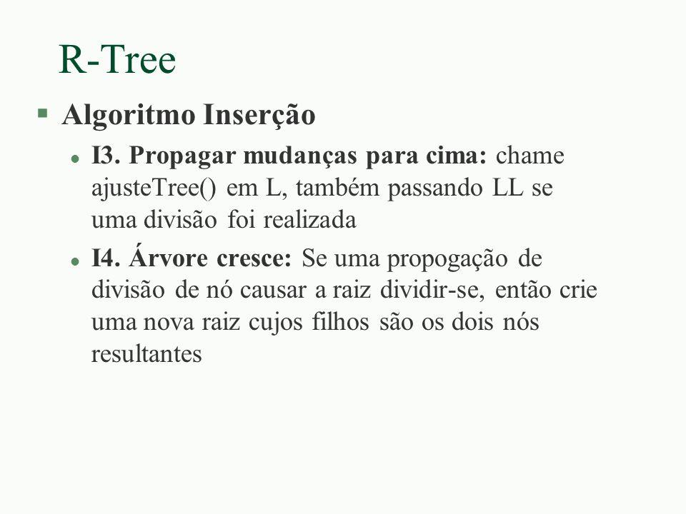 R-Tree §Algoritmo Inserção l I3. Propagar mudanças para cima: chame ajusteTree() em L, também passando LL se uma divisão foi realizada l I4. Árvore cr