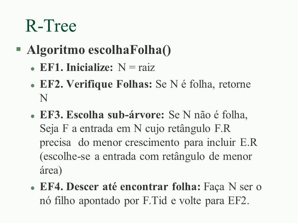 R-Tree §Algoritmo escolhaFolha() l EF1. Inicialize: N = raiz l EF2. Verifique Folhas: Se N é folha, retorne N l EF3. Escolha sub-árvore: Se N não é fo