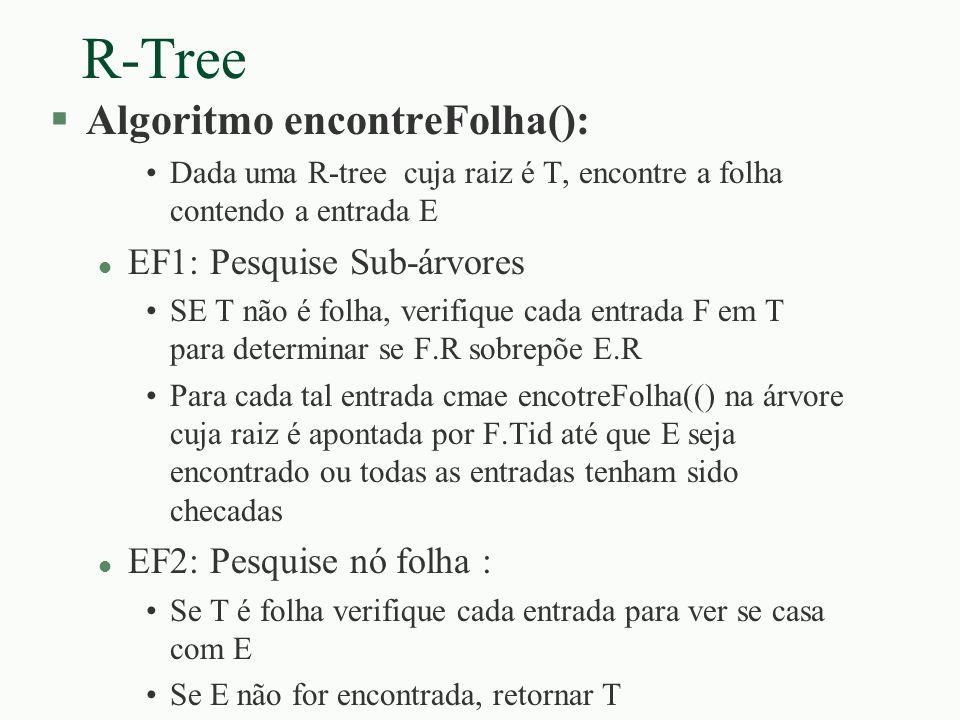 R-Tree §Algoritmo encontreFolha(): Dada uma R-tree cuja raiz é T, encontre a folha contendo a entrada E l EF1: Pesquise Sub-árvores SE T não é folha,