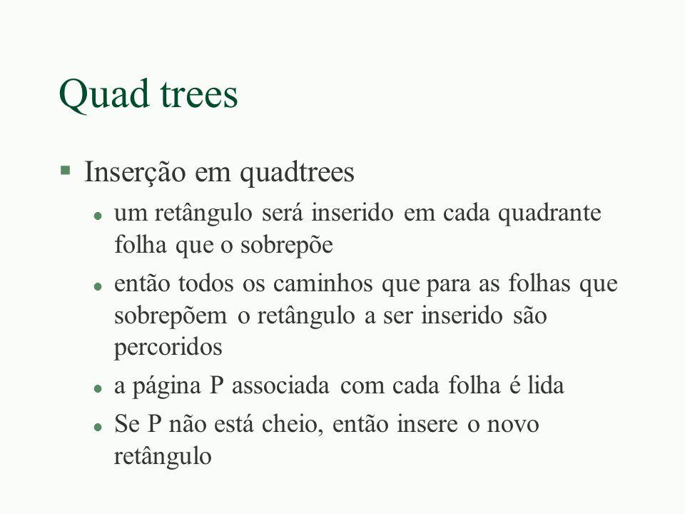 Quad trees §Inserção em quadtrees l um retângulo será inserido em cada quadrante folha que o sobrepõe l então todos os caminhos que para as folhas que