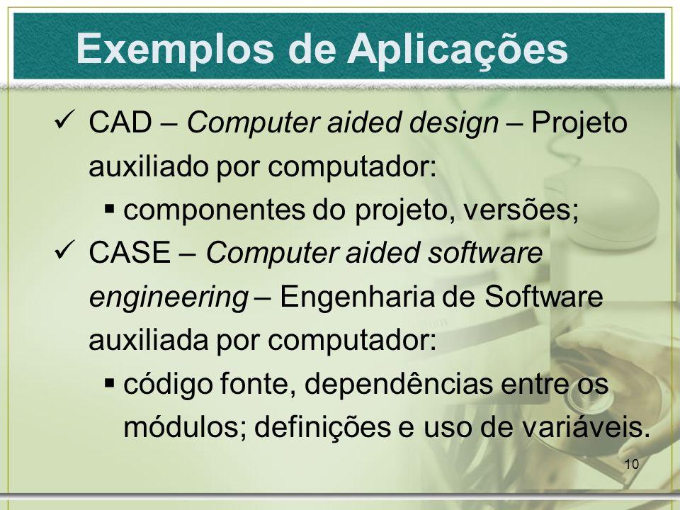 10 Exemplos de Aplicações CAD – Computer aided design – Projeto auxiliado por computador: componentes do projeto, versões; CASE – Computer aided softw