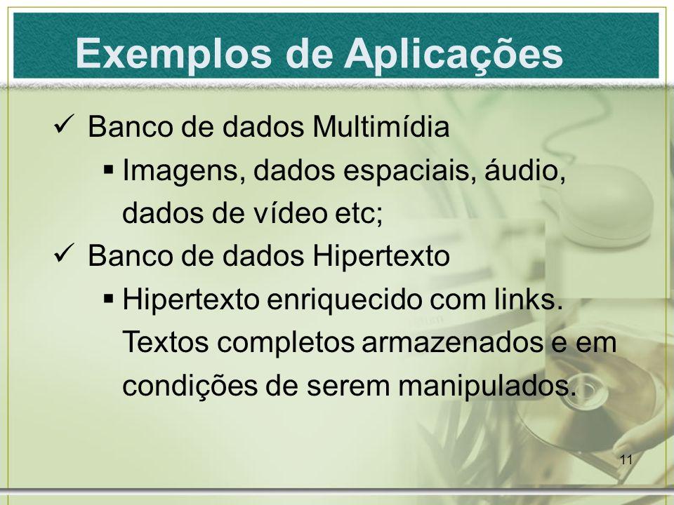11 Exemplos de Aplicações Banco de dados Multimídia Imagens, dados espaciais, áudio, dados de vídeo etc; Banco de dados Hipertexto Hipertexto enriquec