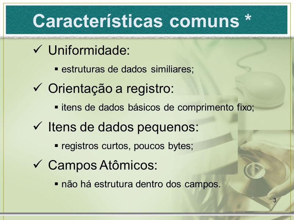 3 Características comuns * Uniformidade: estruturas de dados similiares; Orientação a registro: itens de dados básicos de comprimento fixo; Itens de d