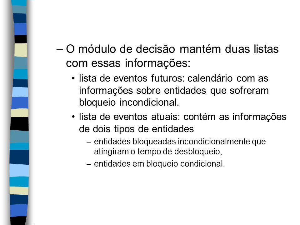 –O módulo de decisão mantém duas listas com essas informações: lista de eventos futuros: calendário com as informações sobre entidades que sofreram bloqueio incondicional.