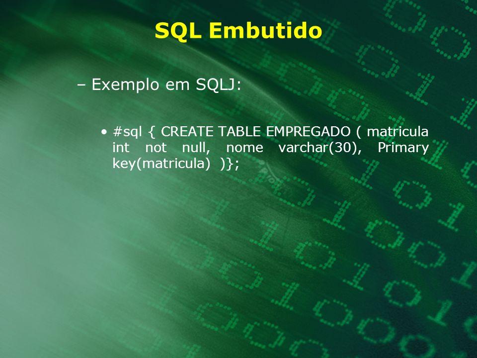 SQL Embutido –Exemplo em SQLJ: #sql { CREATE TABLE EMPREGADO ( matricula int not null, nome varchar(30), Primary key(matricula) )};