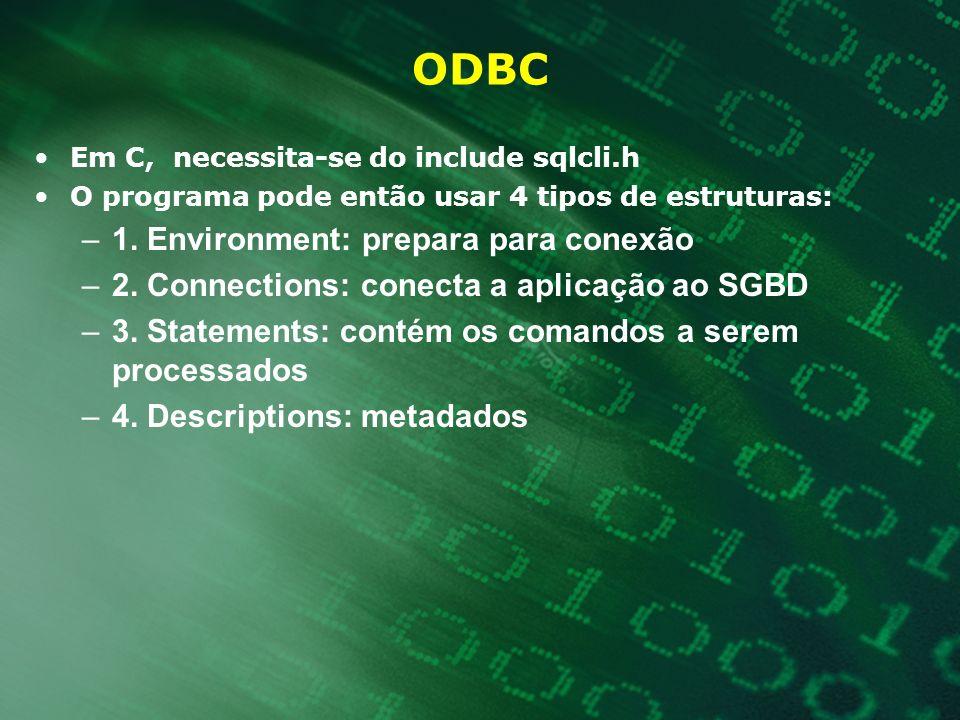 ODBC Em C, necessita-se do include sqlcli.h O programa pode então usar 4 tipos de estruturas: –1. Environment: prepara para conexão –2. Connections: c