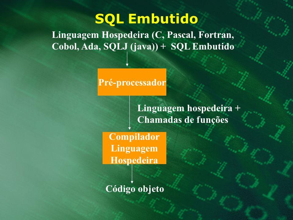 SQL Embutido Pré-processador Compilador Linguagem Hospedeira Linguagem Hospedeira (C, Pascal, Fortran, Cobol, Ada, SQLJ (java)) + SQL Embutido Linguag