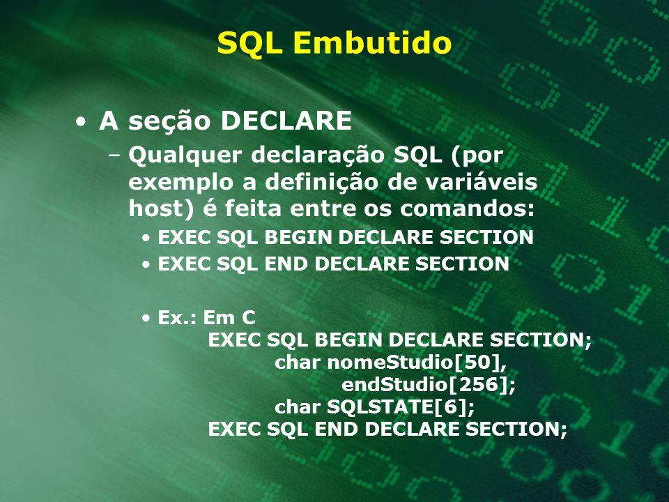 SQL Embutido Variáveis host: –são compartilhadas entre a aplicação e o BD –são definidas na aplicação e precedidas por dois_pontos (:) o comando EXEC SQL –Quando queremos invocar um comando SQL de dentro de uma aplicação simplesmente usamos o comando EXEC SQL ou outra diretiva(por exemplo $ ou #)