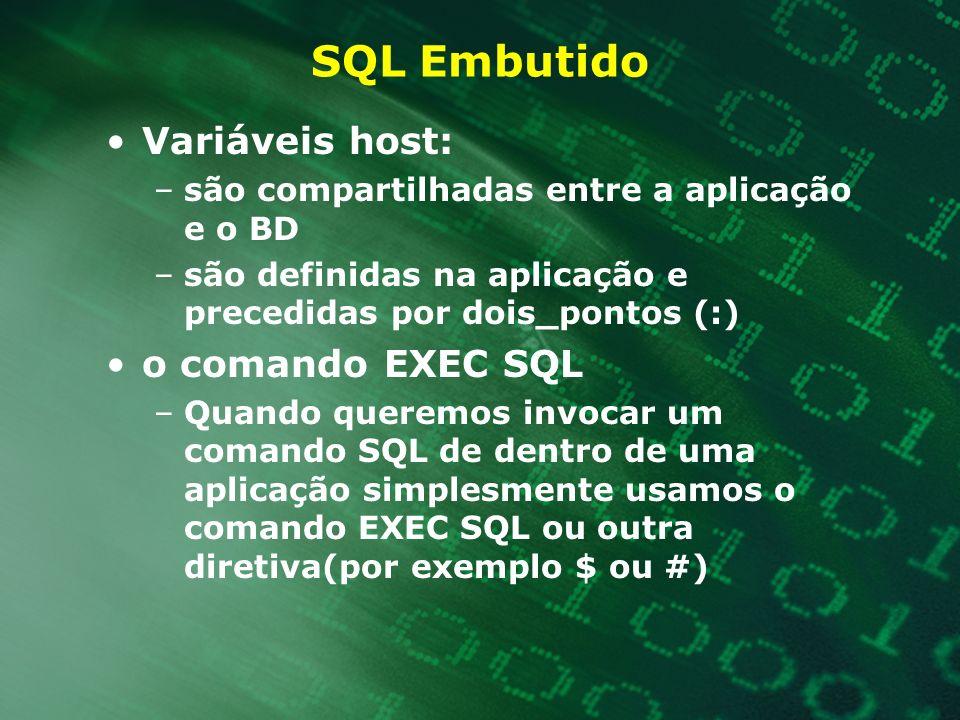SQL Embutido Variáveis host: –são compartilhadas entre a aplicação e o BD –são definidas na aplicação e precedidas por dois_pontos (:) o comando EXEC