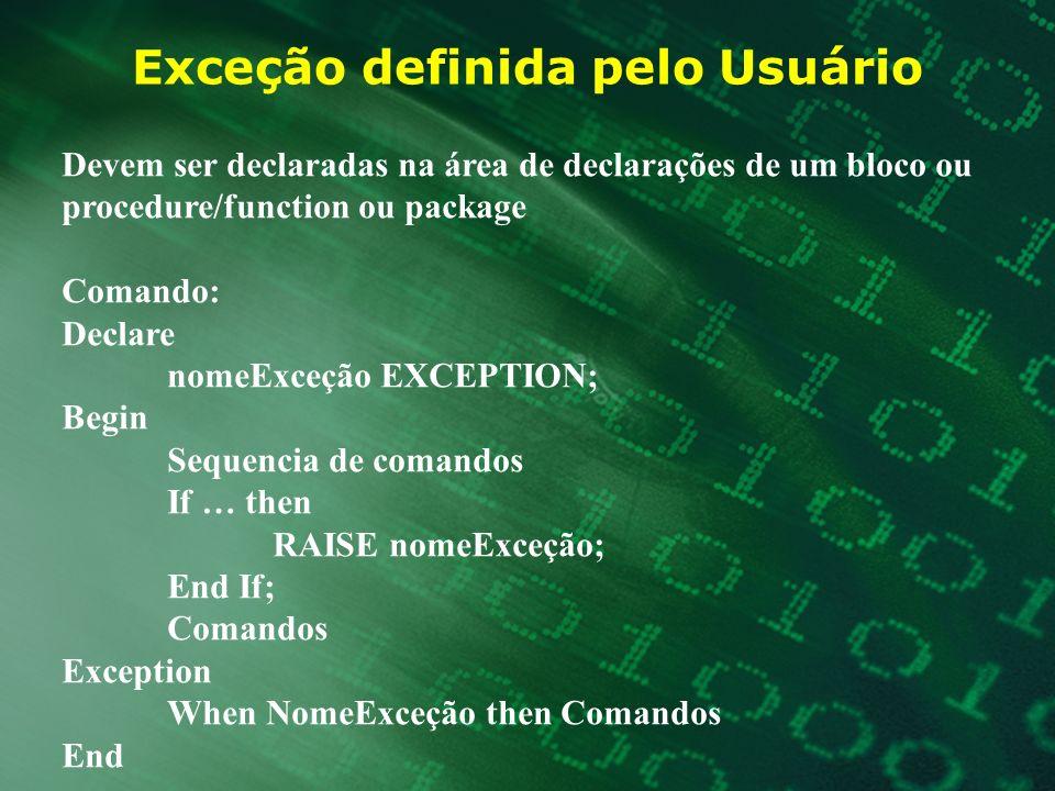 Exceção definida pelo Usuário Devem ser declaradas na área de declarações de um bloco ou procedure/function ou package Comando: Declare nomeExceção EX