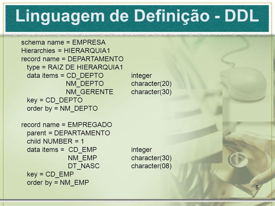 6 Linguagem de Definição - DDL record name = PROJETO parent = DEPARTAMENTO child NUMBER = 2 data items = CD_PROJinteger NM_PROJcharacter(20) DS_LOCcharacter(15) key = CD_PROJ order by = NM_PROJ record name = SUPERVISOR parent = EMPREGADO child NUMBER = 1 data items = CD_SUPinteger NM_SUP character(30) key = CD_SUP order by = NM_SUP