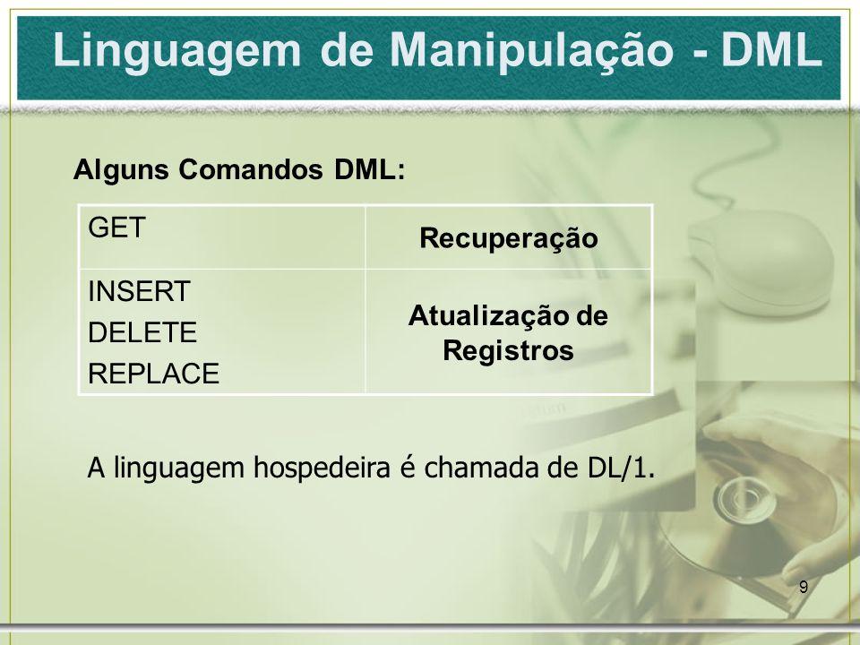 9 Linguagem de Manipulação - DML Alguns Comandos DML: GET Recuperação INSERT DELETE REPLACE Atualização de Registros A linguagem hospedeira é chamada de DL/1.