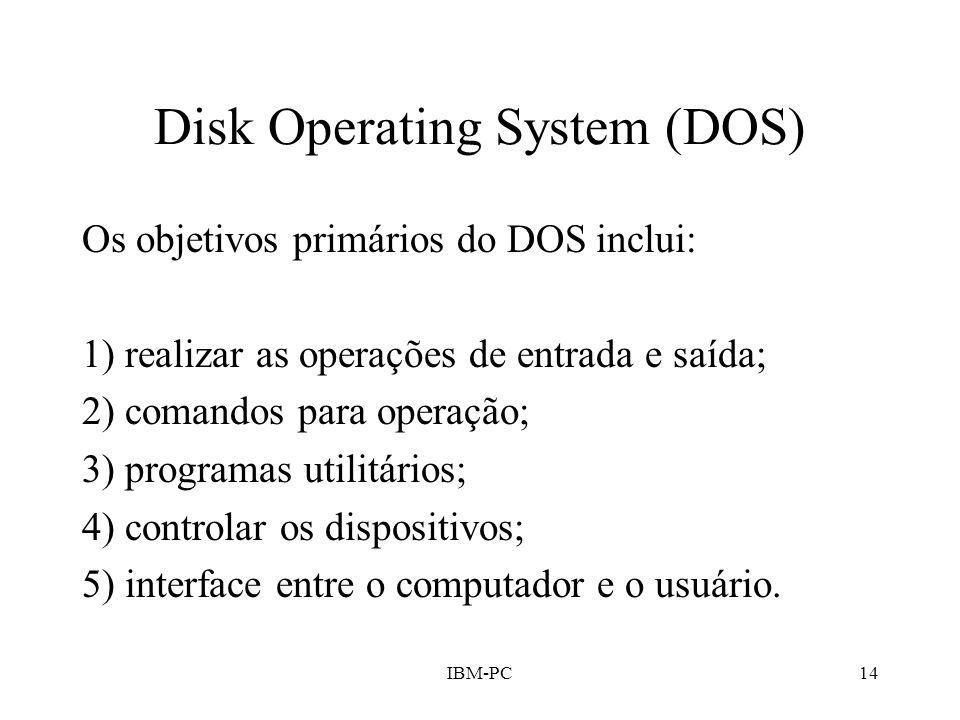 IBM-PC14 Disk Operating System (DOS) Os objetivos primários do DOS inclui: 1) realizar as operações de entrada e saída; 2) comandos para operação; 3)