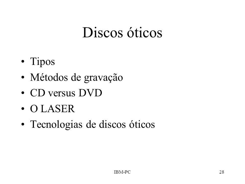 IBM-PC28 Discos óticos Tipos Métodos de gravação CD versus DVD O LASER Tecnologias de discos óticos