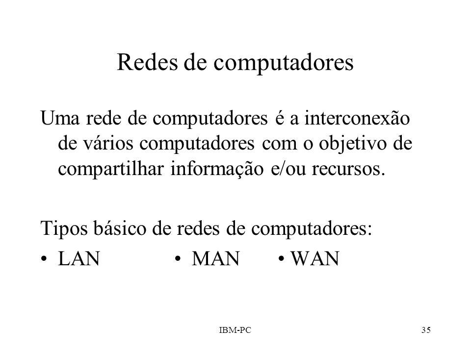 IBM-PC35 Redes de computadores Uma rede de computadores é a interconexão de vários computadores com o objetivo de compartilhar informação e/ou recurso