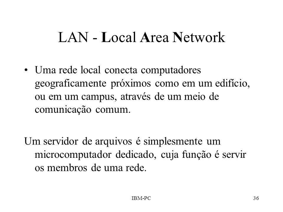 IBM-PC36 LAN - Local Area Network Uma rede local conecta computadores geograficamente próximos como em um edifício, ou em um campus, através de um mei