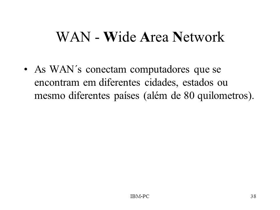 IBM-PC38 WAN - Wide Area Network As WAN´s conectam computadores que se encontram em diferentes cidades, estados ou mesmo diferentes países (além de 80