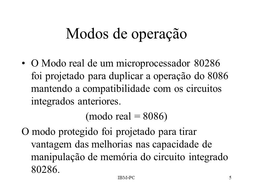 IBM-PC5 Modos de operação O Modo real de um microprocessador 80286 foi projetado para duplicar a operação do 8086 mantendo a compatibilidade com os ci